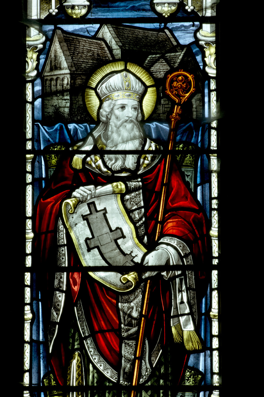 St Aldhelm (c.639- 25th May 709) depicted in the South West corner of Malmesbury Abbey