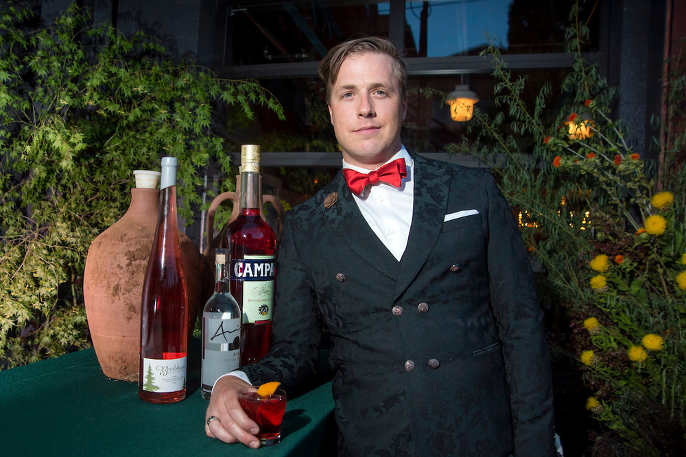 THE WELCOME NEGRONI:Beckham Estate Amphora-Aged Negroni - Buried underground at Beckham Estate in clay amphora to age for two months.CampariBulldog ginCinzano 1757 sweet vermouthDouglas Derrick, Campari AmericaServed at the 2017 Negroni Social