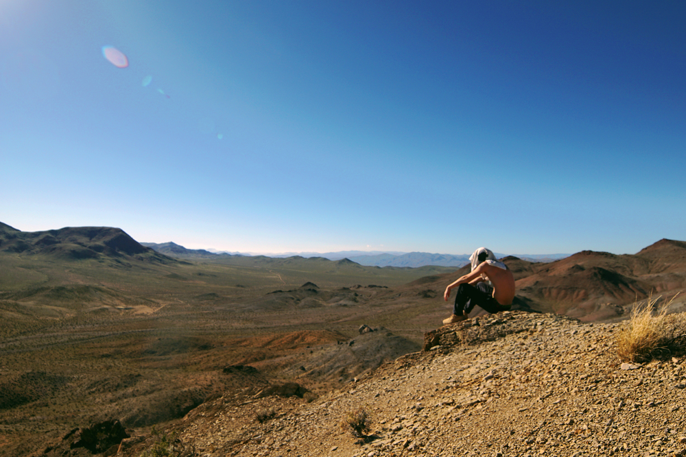 Spacing out in the vast landscape.