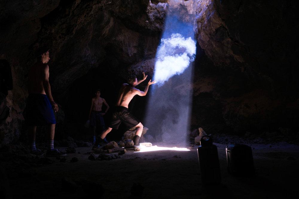 Performing smoke rituals.