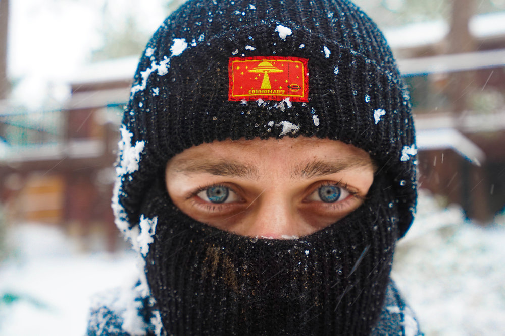 "Mountain Man. The ""UFO"" beanie coupled with the ""UFO"" face warmer was an equal match for this wintery world."