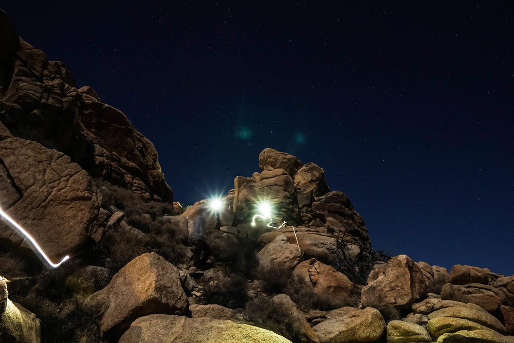 Story time leads to a night hike through the boulder fields