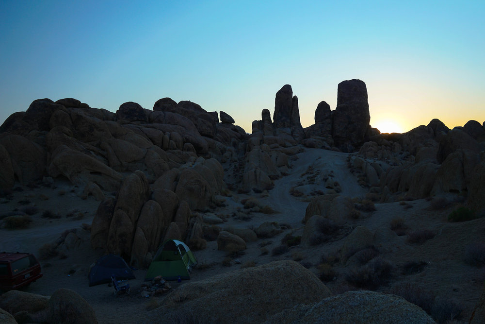 Amidst the Alabama Hills night turns to day as the sun replaces the moon.