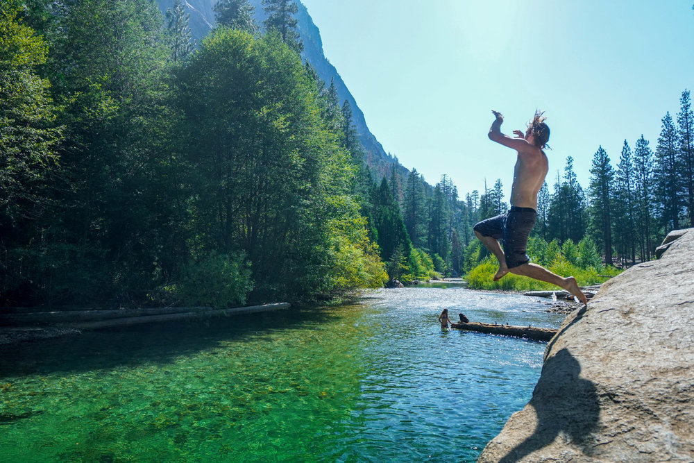 Nothing says summer like leap into ice cold Sierra Mountain water from a rock the legendary John Muir himself once sat upon!