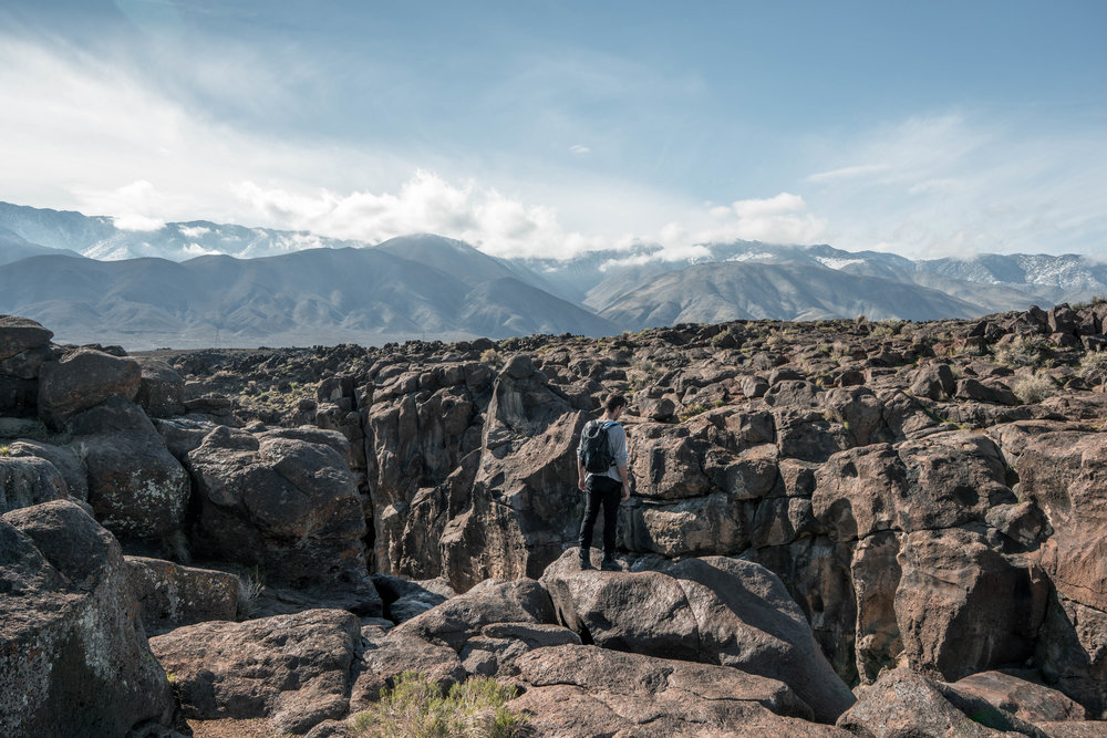 One particular volcanic eruption temporarily redirected the Owens Valley River over an existing bed of lava rock creating this magnificent scar in the Earth.
