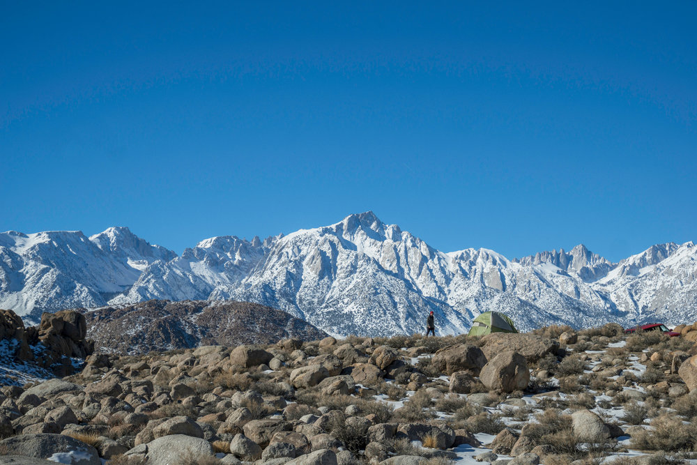 Once the sun rises we see how truly prime our locale is under the shadow of Mt. Whitney. Sometimes the best sites are found under the oddest of circumstances.