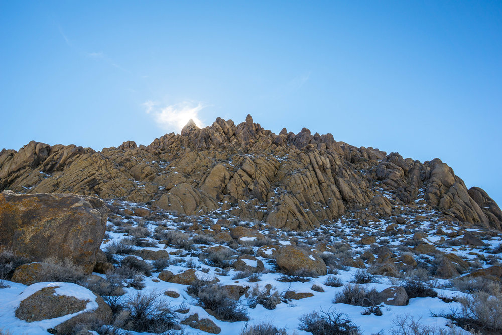The rocky Alabama Hills are normally free of snow, but a late winter storm created a beautifully rare contrast.