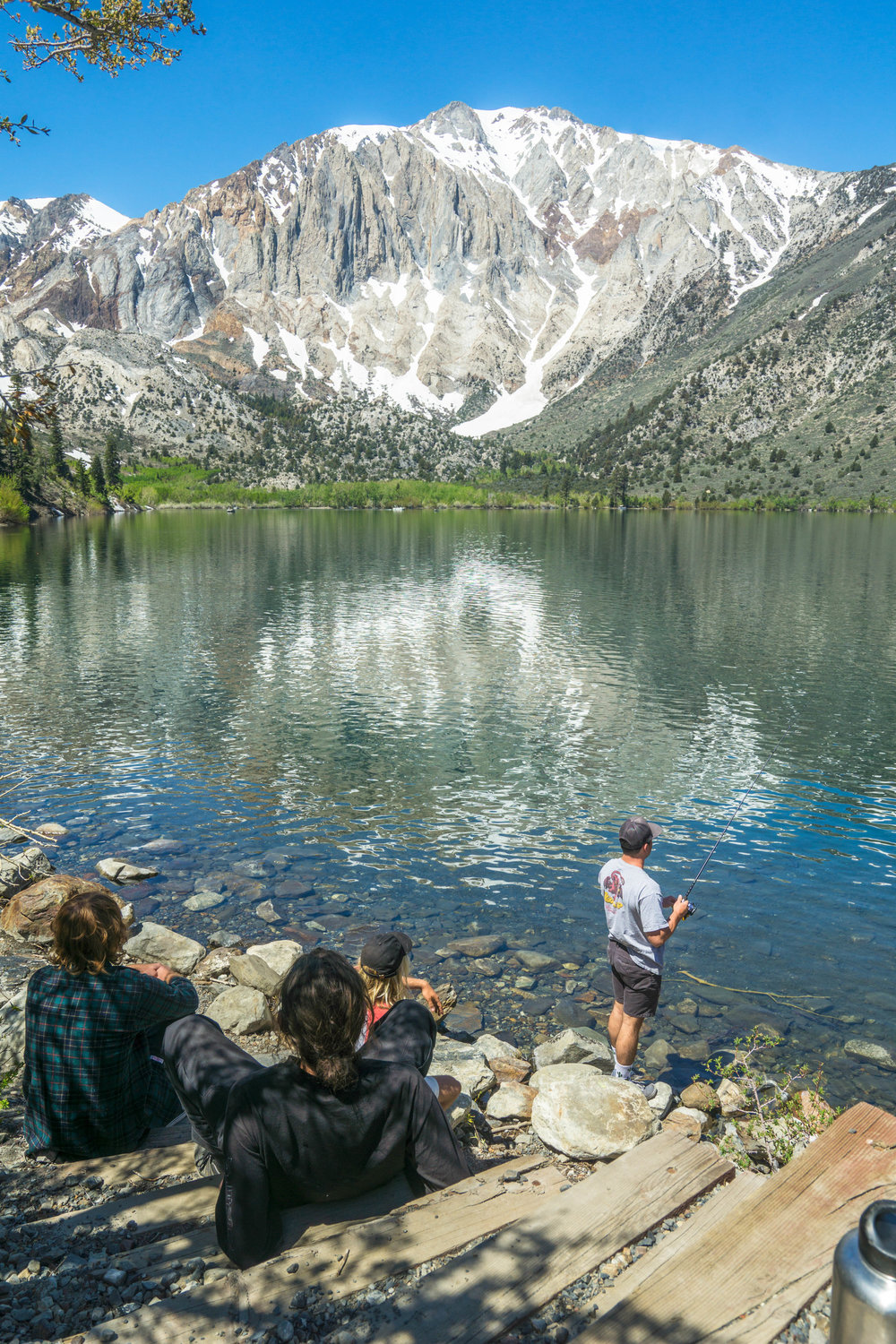 Eager to get in some final fishing before the 7-hour drive back home, we head to the edge of the tranquil Convict Lake.