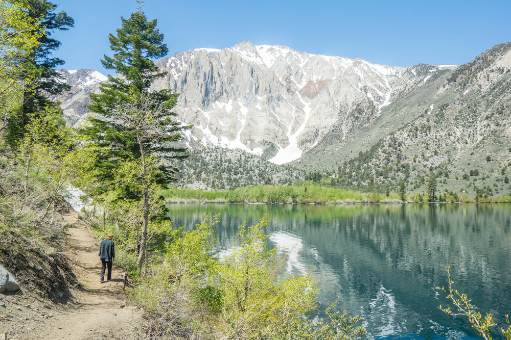 "While half the crew fishes, the other half takes off on a hike to circumnavigate the lake & view where the ""New Sierras"" run into the ""Old Sierras""."