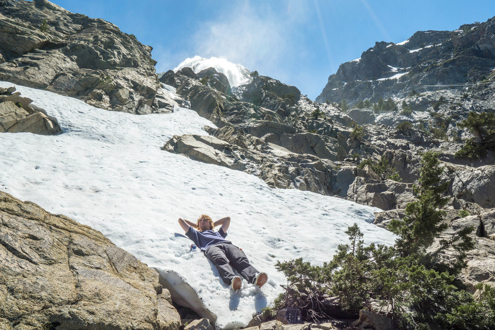 The noon-day sun had us cooking, so a mid-hike snow patch provided the ultimate cool down.