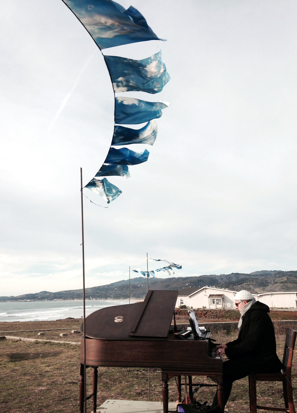 sunset piano + flags