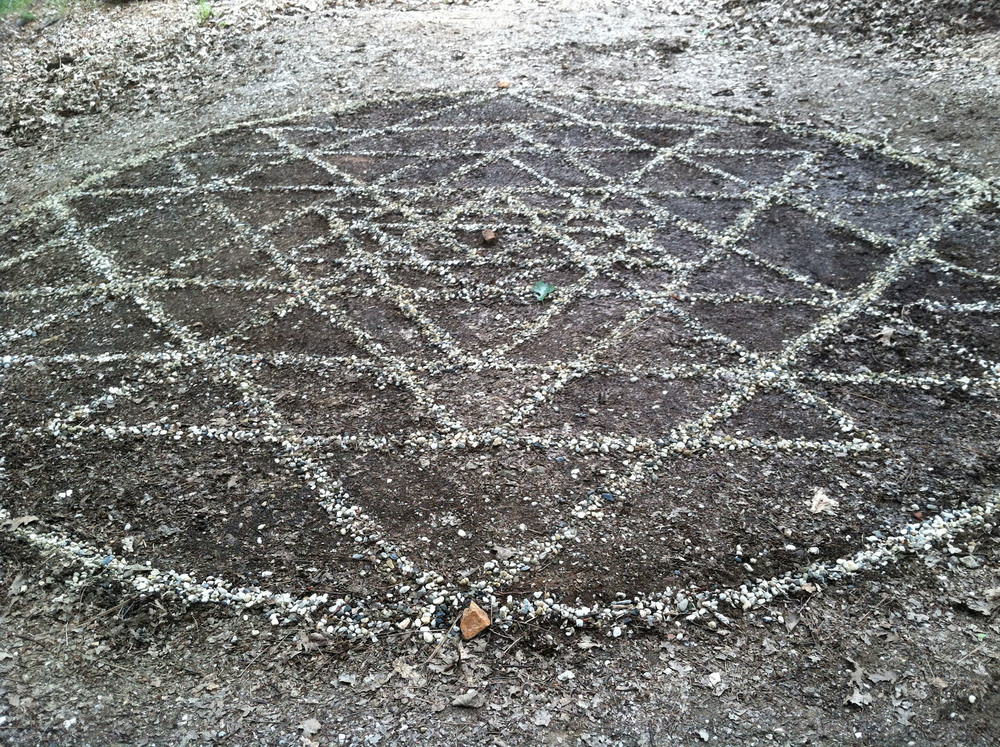 shri yantra: stones on earth, Nevada City, CA