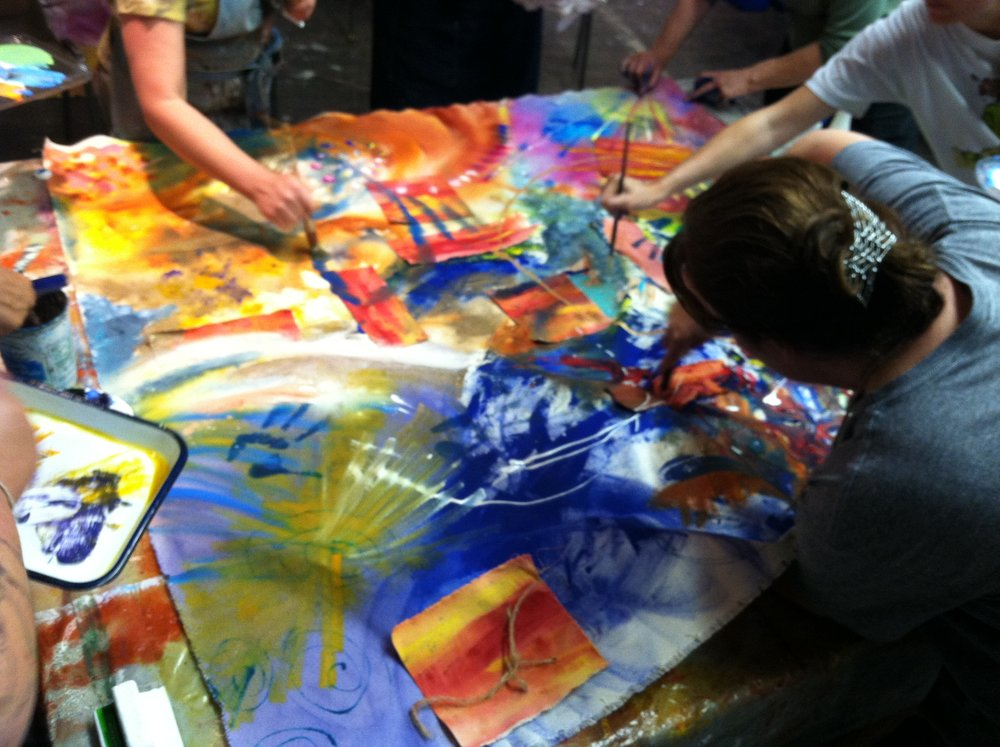 process artists paint collaboratively
