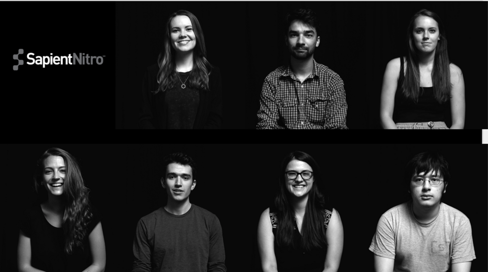 SapientNitro Summer Interns (from left to right): Alexis O'Connell, Thomas Mendosa, Sarah Mahoney, Kayla Van Fleet, Isaac Morier, Sarah Skertic, Matt Robinson-Liu