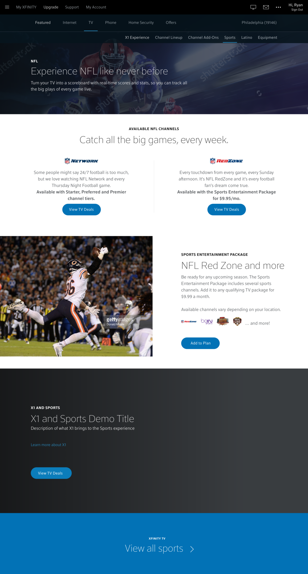 Wireframe - NFL page