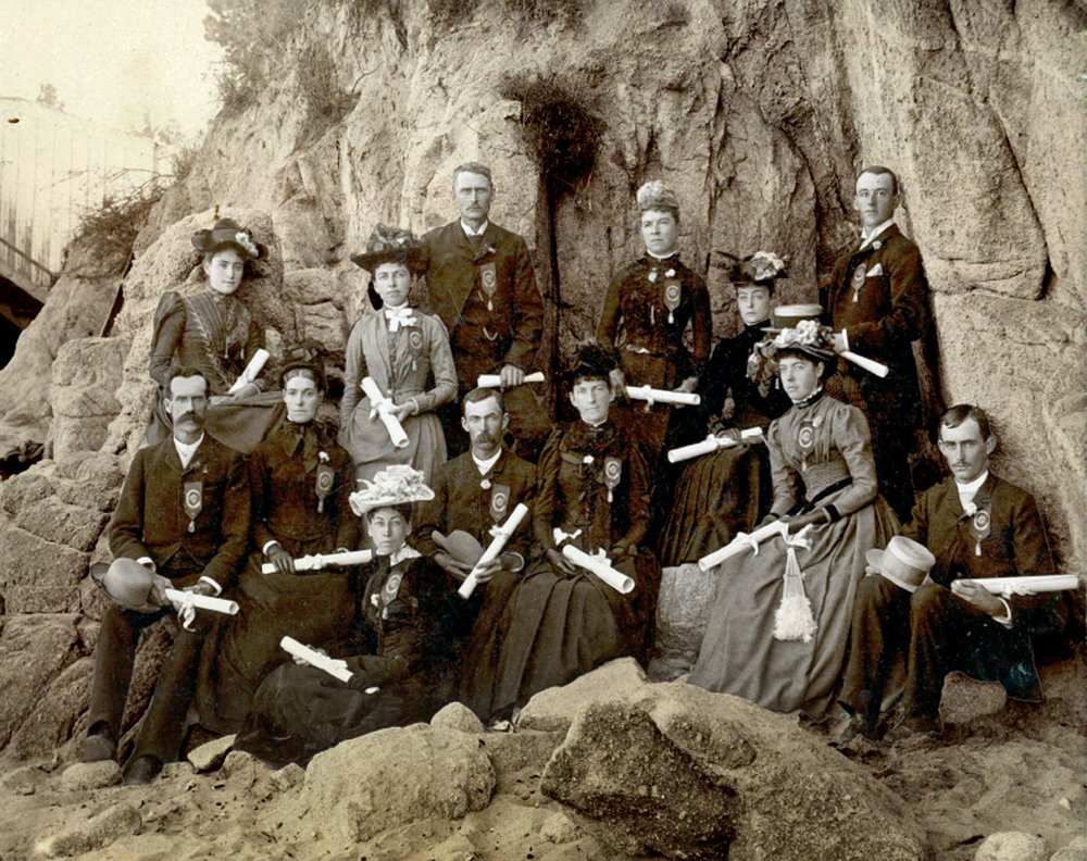 Graduates, 1890.  These graduates of the educational program of the Saratoga Chautauqua Literary and Scientific Circle at Pacific Grove are holding their honorary diplomas. Photograph courtesy of the Saratoga Historical Foundation and Saratoga History Museum