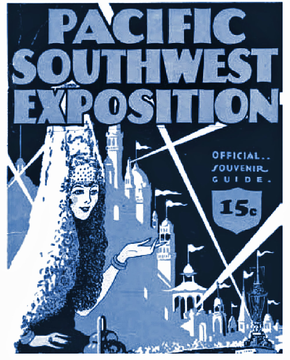 The image of the Pacific Southwest Exposition of 1928 blended Spanish California with Tunisian minarets.
