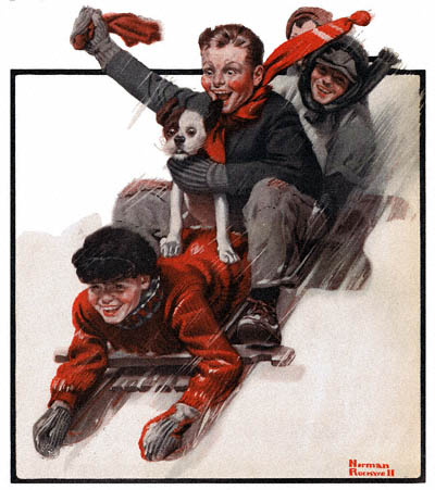 1919-12-27-the-country-gentleman-norman-rockwell-cover-four-boys-on-a-sled