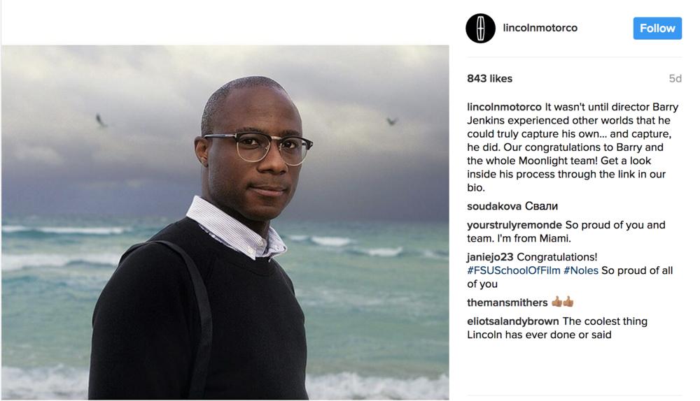 Client Instagram post targeting film fans surrounding Oscars conversation.