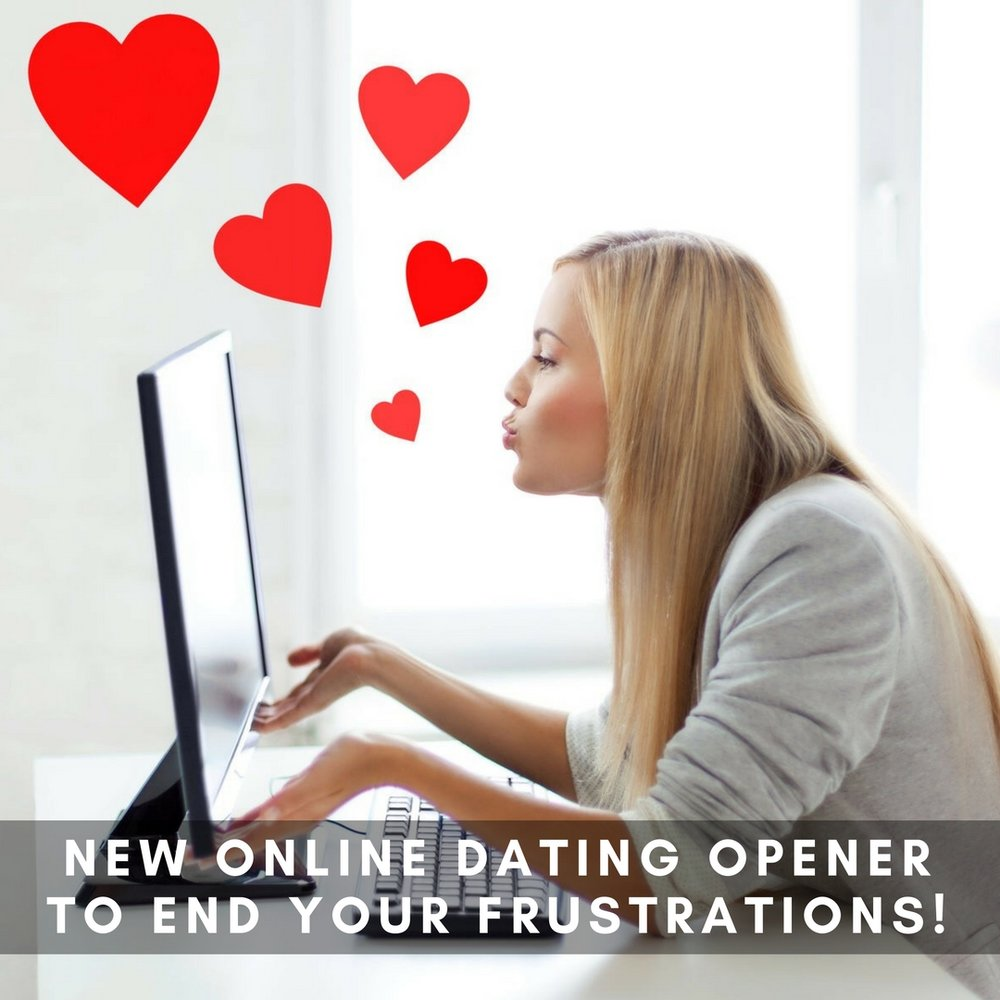 Attractive blonde woman blowing kisses at her computer