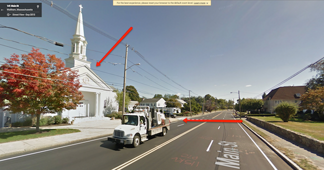 "Here's an example of a great landmark. When heading North on Main Street, the left turn is directly after the white church. This voice tip said ""The left turn is just after the big white church."""