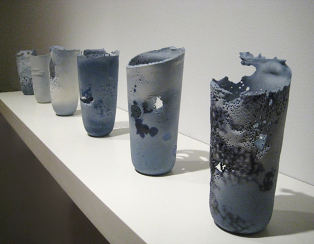 Cast porcelain, ceramic decals from photographs of ink, soluble salts     photo courtesy of   Dubhe Carreño Gallery