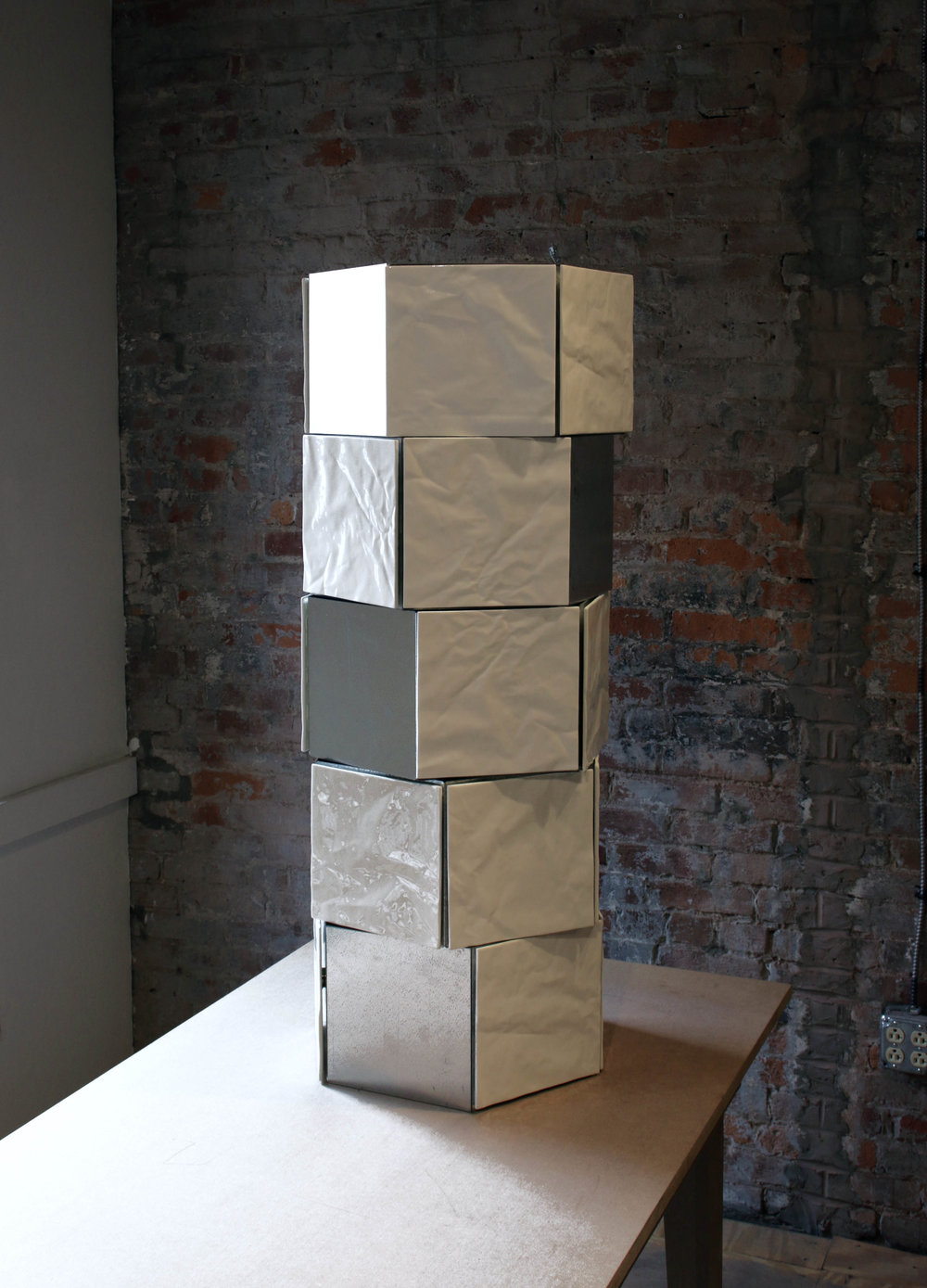 "Crumple Tower Sheet, metal, bone china tiles, magnets 40"" x 14"" x 14"",  2018"