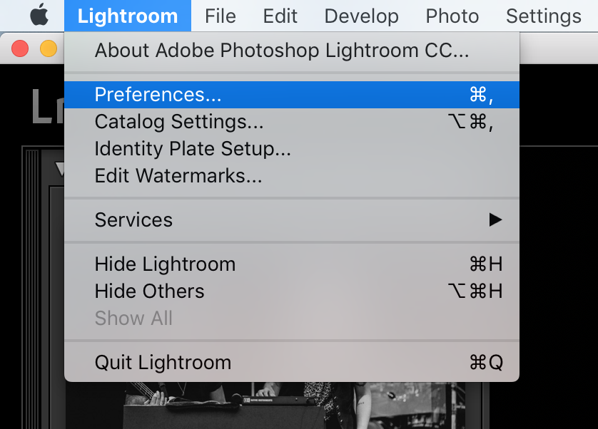 Adobe Lightroom export preset for social media