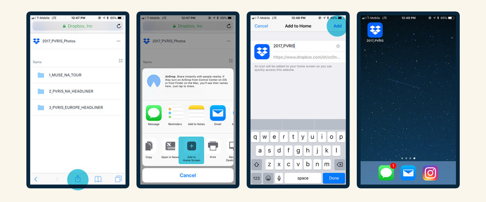 How to add a shortcut icon to a Dropbox folder on a user's iPhone