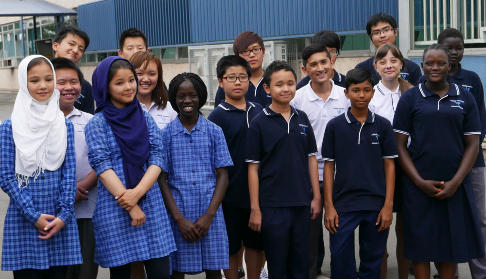 Adelaide Secondary School of English students in full uniform.
