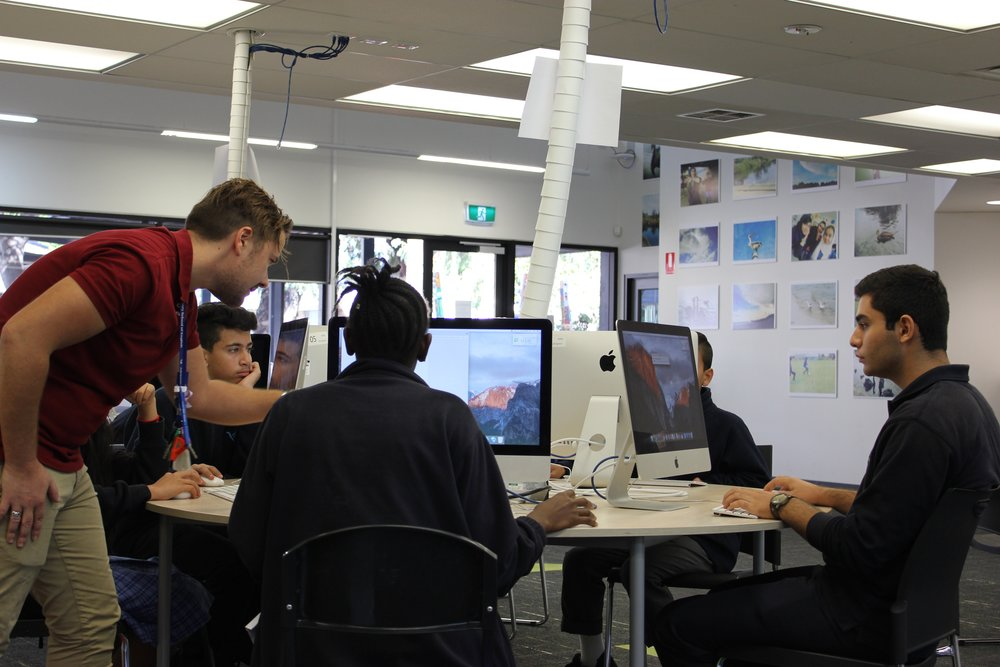 Students using the school's computer FACILITIES