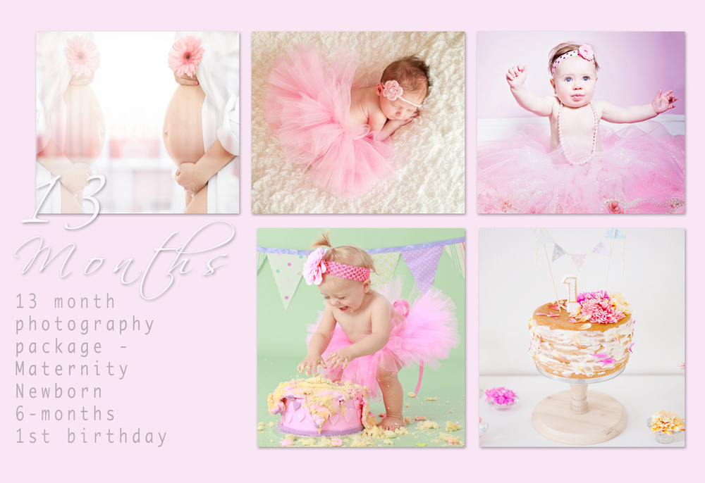 13-month photography package from maternity to 1st birthday