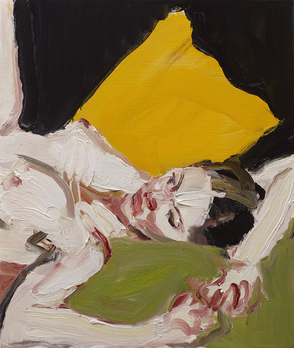 THE YELLOW CUSHION 2014 oil on linen 66 x 56cm