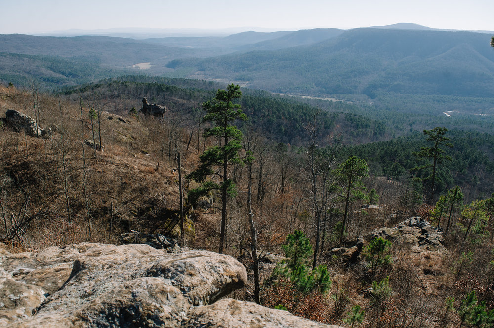 The view down toward the Arkansas Sphinx from the top of Hess Knob.