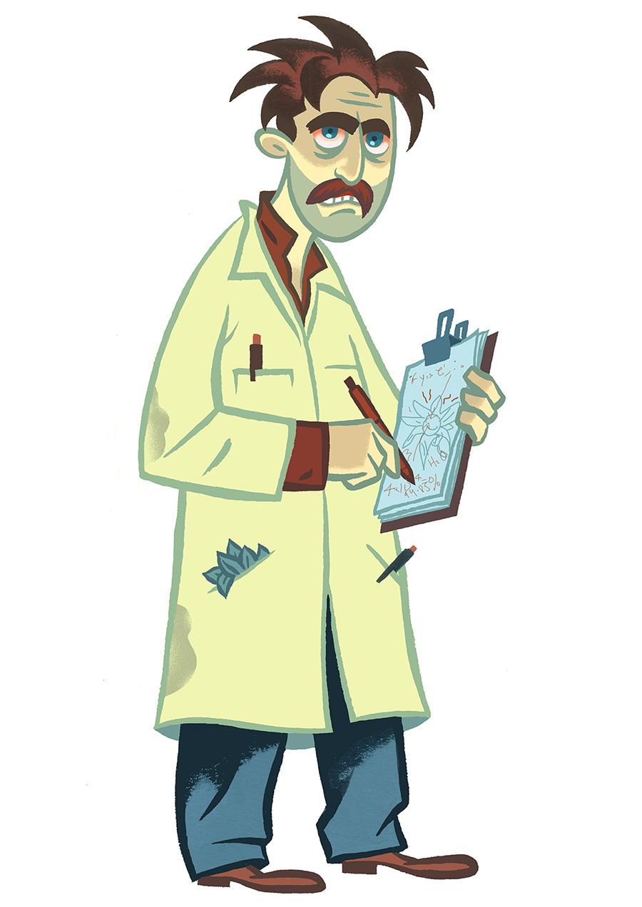 Unshaven Scientist with clipboard