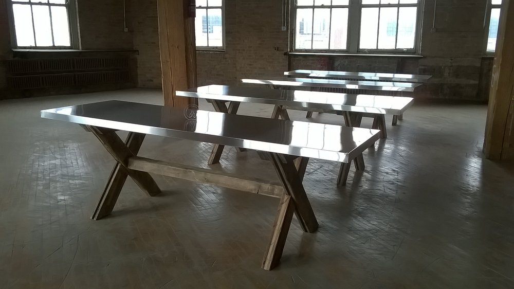 Colapsable X Trestle Tables for BRIX Catering Company