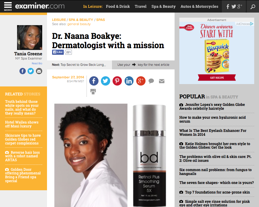 Dr. Naana Boakye: Dermatologist with a mission   Sep 27, 2014