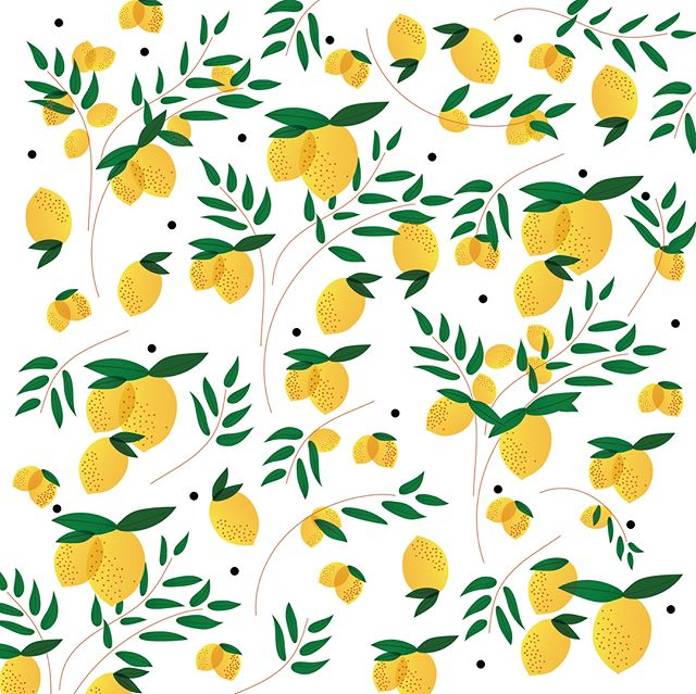 Squeeze the day! Inspired by all this sunshine, so decided to draw some lemons 🍋 . Also, which color backgrounds do you prefer, black or white? Lemme know!#collabwithlemons #stressballs #happypatterns #patterndesign