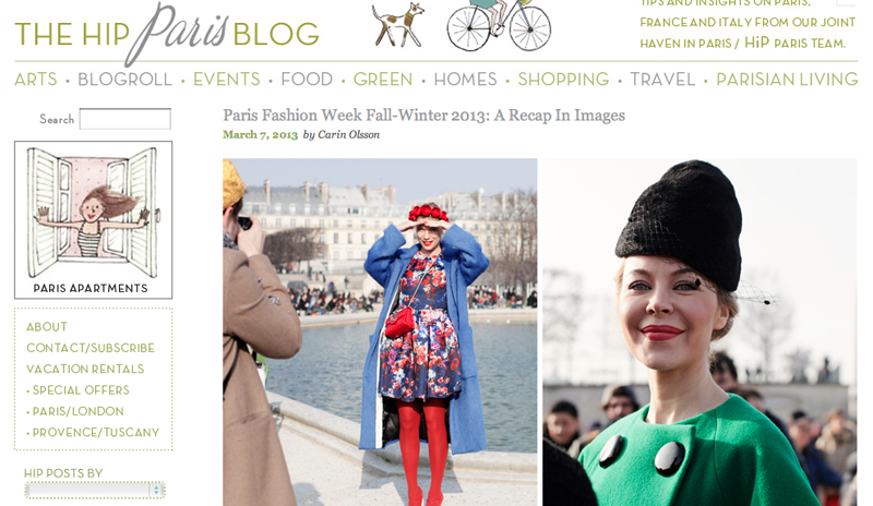 Feature on the HiP Paris Blog for Paris Fashion Week FW13 by Carin Olsson (Paris in Four Months)