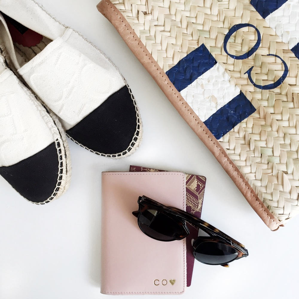 Shoes:  CH Carolina Herrera  Passport cover:  Cuyana  Sunglasses:  Dior  Clutch:  Rea Feather
