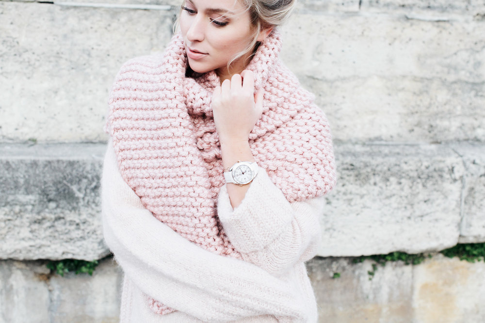 Watch:  Omega  Sweater:  All Saints  Scarf: Knitted by a friend