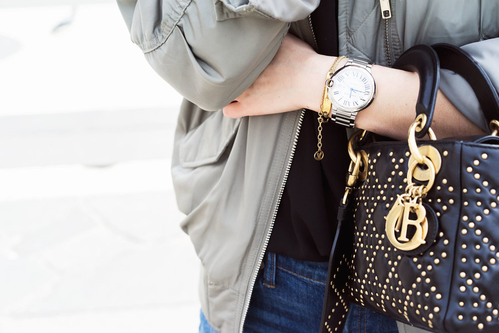 Watch:  Cartier  Bag:  Dior  Bracelets:  LV  &  Monica Vinader  Jacket:  Filippa K  Jeans:  Madewell