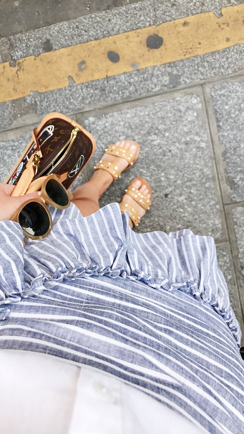 Bag:  Louis Vuitton  Shoes:  & Other Stories  Skirt:  Miss Selfridge  Sunglasses:  Edwardson Eyewear  Top:  Asos