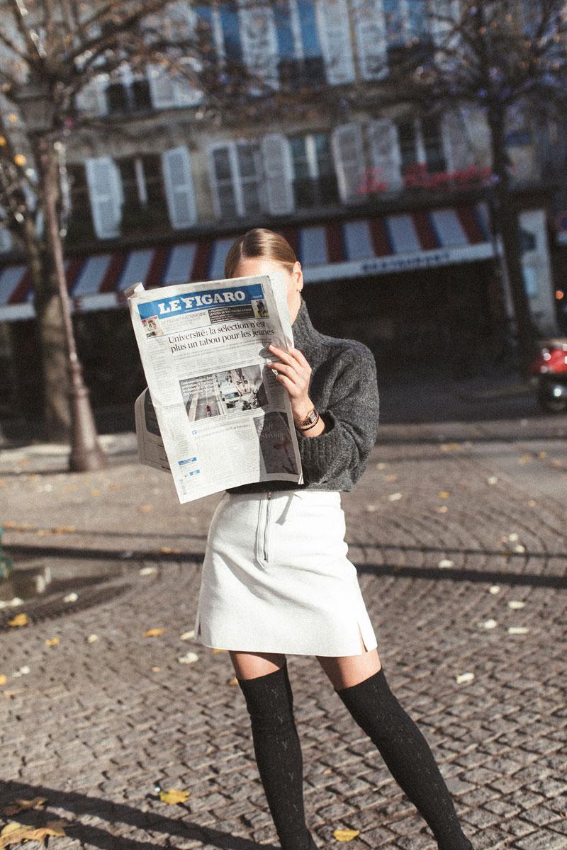 Watch:  Panthère de Cartier  Sweater:  H&M  Skirt & Shoes:  Louis Vuitton