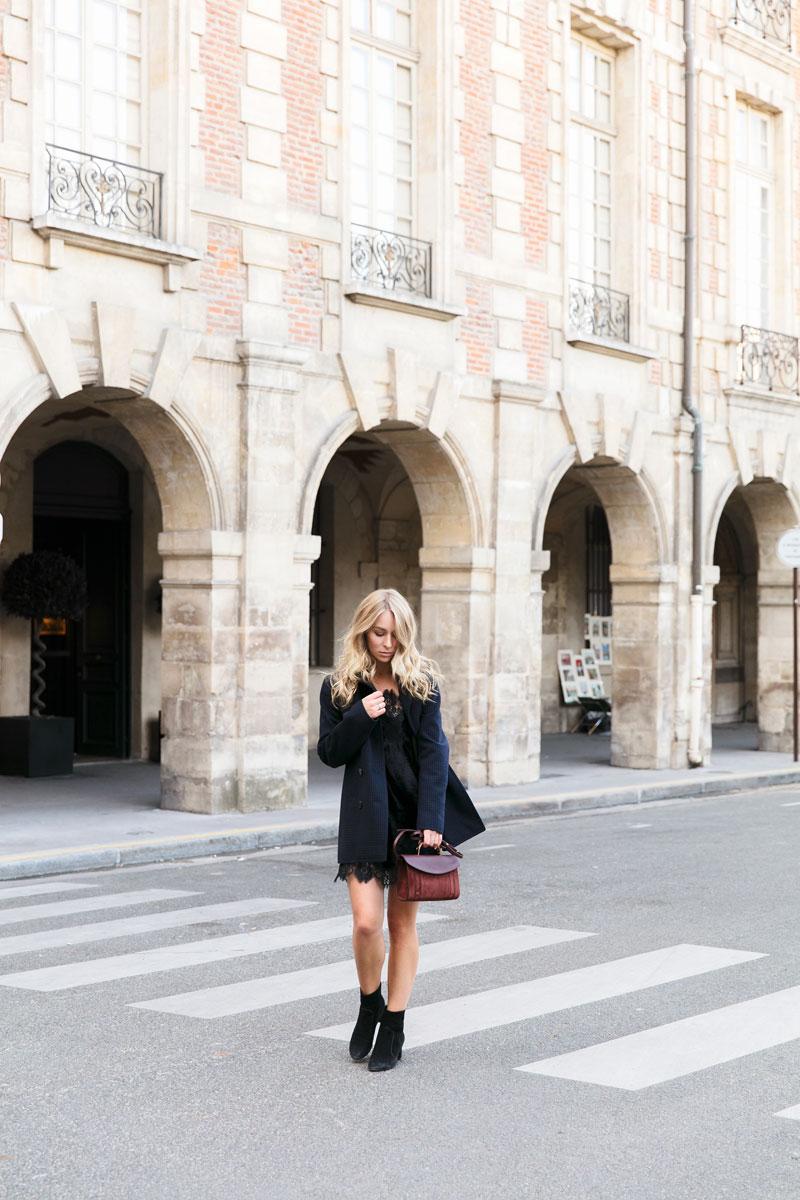 Jacket:  Dior  Bag:  Mansur Gavriel  Dress:  Alice & Olivia  Boots:  Louis Vuitton