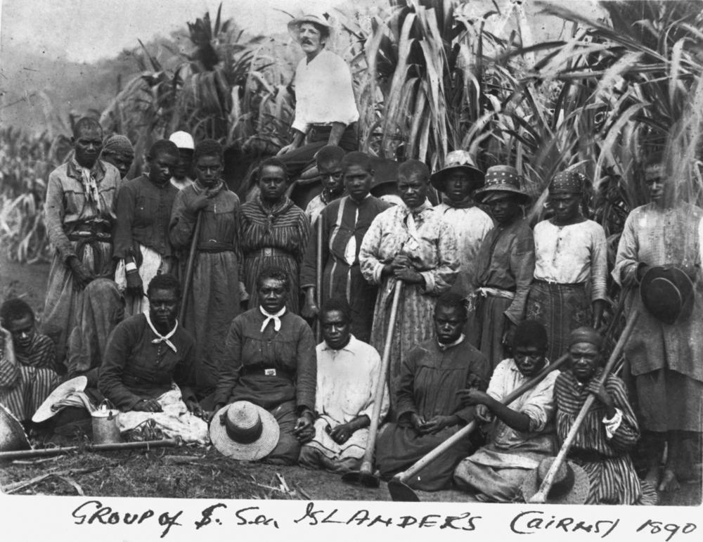 A group of South Sea Islanders on a sugar plantation in Cairns, Australia, 1890. Wikimedia Commons