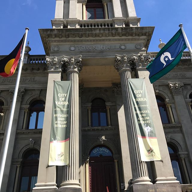 @cityofyarra shouts it loud and proud from the steps of Town Hall they welcomes refugees and asylum seekers #withrefugees #iamaboatperson
