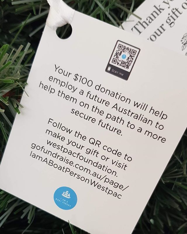 "Westpac is doing a Christmas donation drive! Employees can buy a ""gift"" which is a donation to charity. All donations will support our food for thought market stall. Thank you @westpac !! . . . . #westpac #iamaboatperson #foodstall #thoughtforfood #refugees #chirstmas"