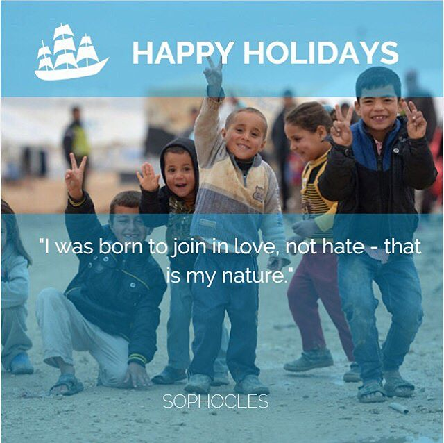 Happy Holidays!! We were born to love, not to hate. Let's share love these holidays because hate is too hard to bear. . . . . #iamaboatperson #happyholidays #refugees #sophocles #love