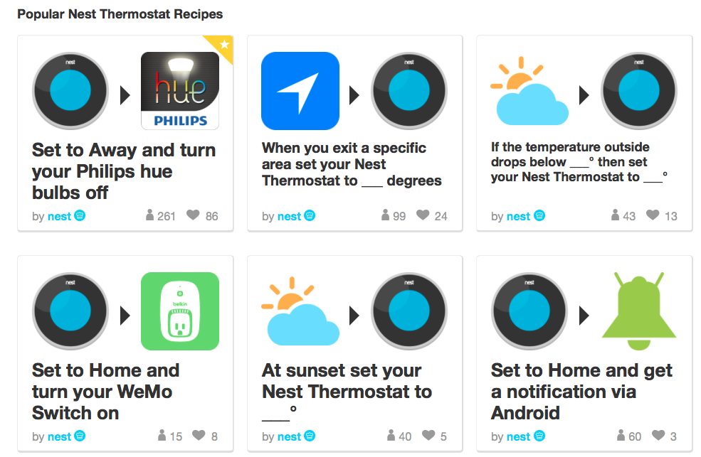 Nest + IFTTT integration of up to 160 different channels